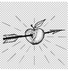 apple target pierced with arrow in heart dot work vector image