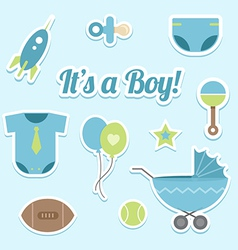Baby boy shower stickers vector