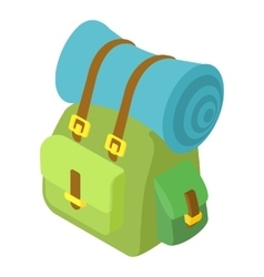 Backpack with mat icon isometric 3d style vector