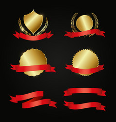 banner ribbon vintage gold red tag pattern vector image