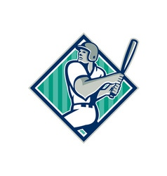 Baseball Hitter Batting Diamond Retro vector