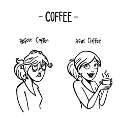 Before after coffee female doodle vector