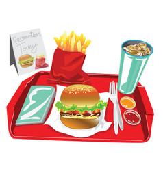 Big burger set have soft dring egg salad french vector