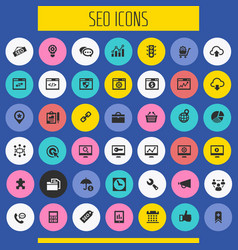 Big seo icon set trendy flat icons collection vector
