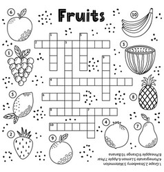 Black and white crossword puzzle game with fruits vector