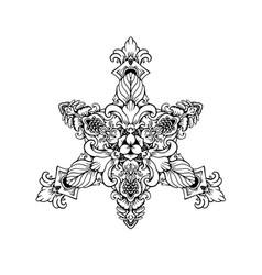 Black white ornament mandala vector
