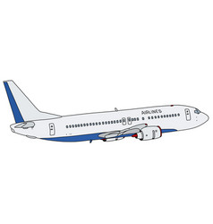 Blue and white jet airliner vector