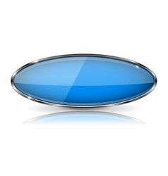 Blue oval button with chrome frame vector