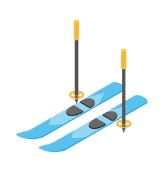 Blue skis and ski poles icon isometric 3d style vector image