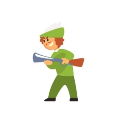 Boy In Costume OfHunter With Gun Performing In vector