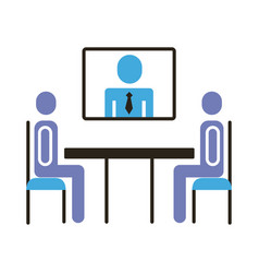 Businessmen teamwork figures in table vector