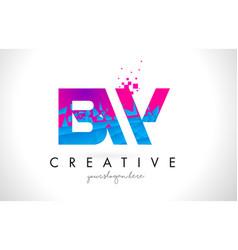 bw b w letter logo with shattered broken blue vector image