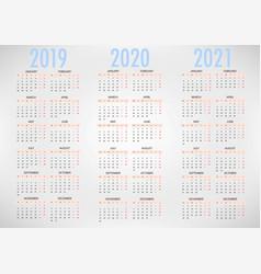 Calendar for 2019 2020 2021 simple template vector
