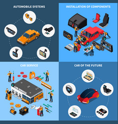 Car electronics concept icons set vector