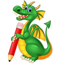 Cartoon cute dragon holding red pencil vector