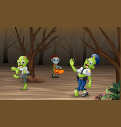 celebrating halloween with zombie in forest vector image
