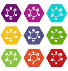 charm bracelet icons set 9 vector image