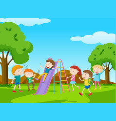Children playing slide in park vector