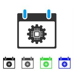Chip gear calendar day flat icon vector