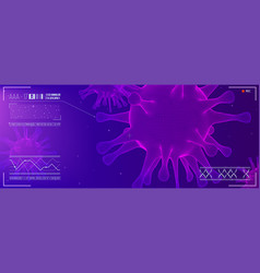 close up view virus cells research hud screen vector image