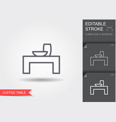 coffee table line icon with editable stroke with vector image