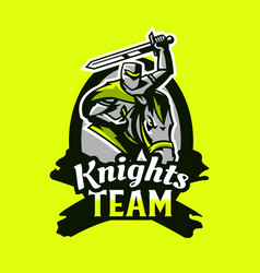 colorful emblem logo badge a knight riding on vector image