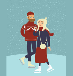 Couple skating on outdoor ice rink vector
