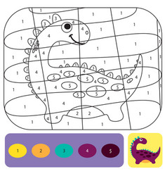 Cute dino coloring page for kids coloring puzzle vector