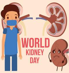 Doctor surgeon sick organ world kidney day vector