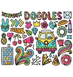 Doodles cute color elements vector image