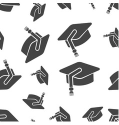 education hat seamless pattern business concept vector image