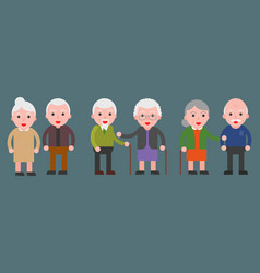 elderly grandma and grandpa couple icon flat vector image