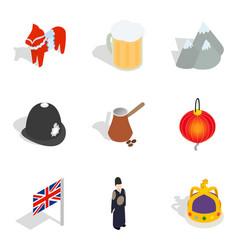 Ethnic community icons set isometric style vector