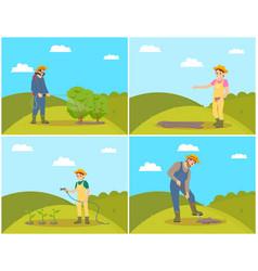 Farmer planting seeds set vector
