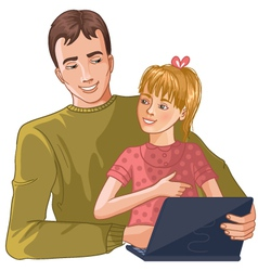 Father and daughter working with laptop vector