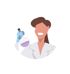 female scientist holding test tube face avatar vector image