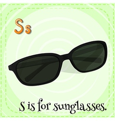 Flashcard alphabet s is for sunglasses vector