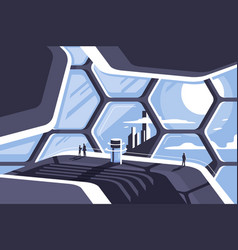 Flat futuristic architecture honeycomb house with vector