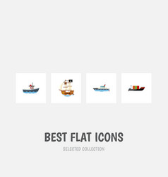 flat icon ship set of sailboat transport vessel vector image vector image