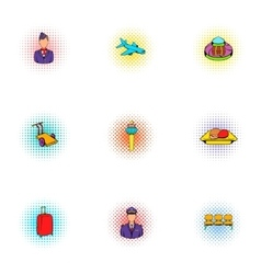 Flying on plane icons set pop-art style vector