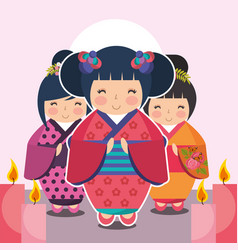 Group cute japanese kokeshi doll in kimono vector
