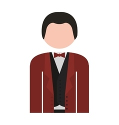 Half body man formal suit bowtie vector