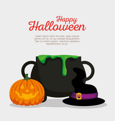 halloween card with cauldron and pumpkin vector image