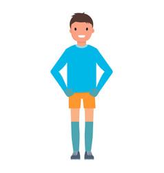 happy goalkeeper icon flat style vector image