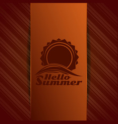 Hello summer logo sun over sea waves vector