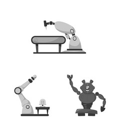 Isolated object of robot and factory icon vector