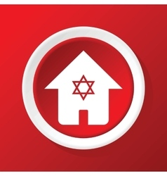 Jewish house icon on red vector
