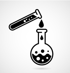 Laboratory test icon with test tube and flask vector image