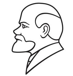Lenin contour portrait vector