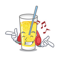 Listening music lemonade mascot cartoon style vector